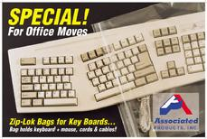 "Keyboard Bags, 14"" x 24"" x 4mil Clear Poly Associated Products, Inc. 800-535-2192"